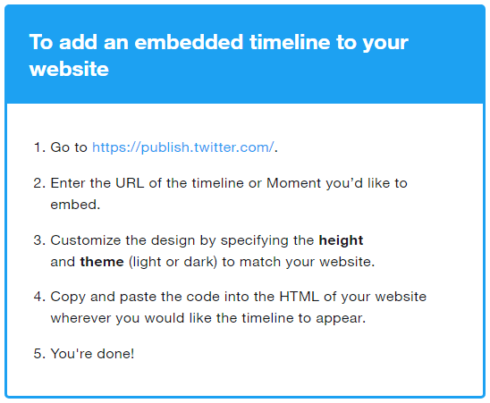 Add an embeded timeline