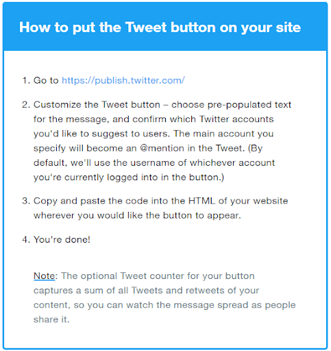 how to put the tweet button
